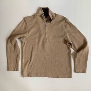 Banana Republic Half-Zip Tan/Stone Cotton Sweater